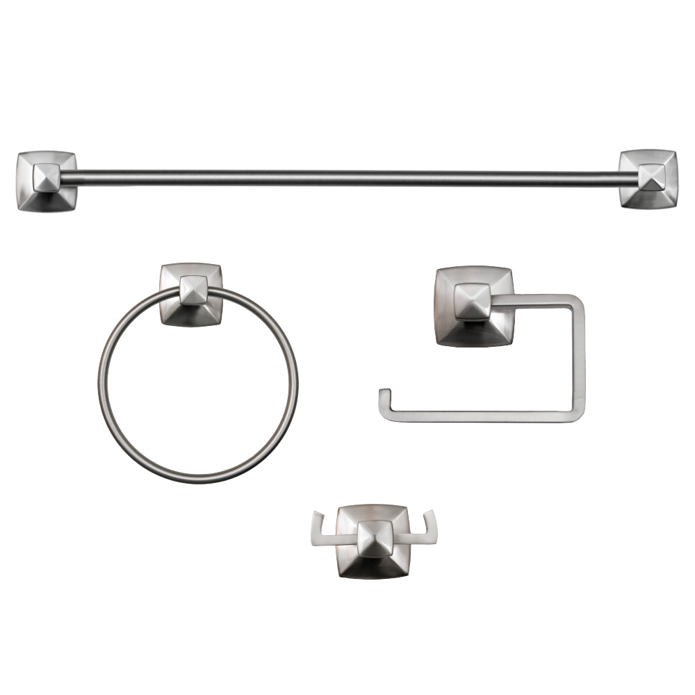 Perth 4-Piece Bathroom Accessory Kit, Satin Nickel #188565