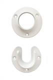 Closet Pole Sockets. White Metal #206003