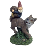 "10"" Gnome Riding Squirrel #310698"