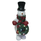 "24"" LED Snowman Holding Wreath Light-Up #319699"