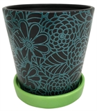 "6"" Turquoise Floral Planter #328997"