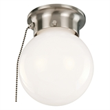 1-Light Globe Ceiling Mount With Pull Chain