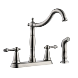 Oakmont Two-Handle 4 inch Centerset Kitchen Faucet With Sprayer, Satin Nickel #523241