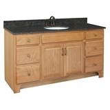 "Richland 2-Door 4-Drawer Ready to Assemble Vanity 60""x21"", Nutmeg Oak #530436"