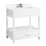 "Concord Console Ready to Assemble Vanity 30""x21"", White Gloss #541532"