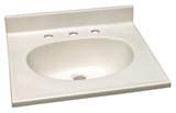 "Cultured Marble 8"" Widespread Vanity Top 61"", White #554709"