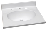 "Cultured Marble 8"" Widespread Vanity Top 61"", White #554865"
