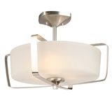 Perth Caged 3-Light Semi-Flush Mount Ceiling Light, Satin Nickel #578351