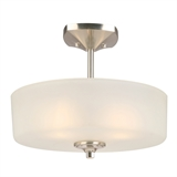 Perth 3-Light Semi-Flush Mount Ceiling Light, Satin Nickel #578369