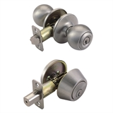 Pro Ball Entry  Knob and Deadbolt Combo, Satin Nickel #782888