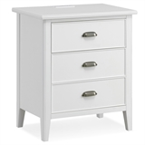 Night Stand with Top Drawer, Door and 2-plug Electrical Outlet #10522-WT