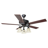 "Ironwood 3-Light Ceiling Fan 52"", Brushed Bronze #154112"