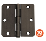 3-1/2 in. x 1/4 in. Radius Oil Rubbed Bronze Door Hinge Value Pack (10 per Pack) #181388