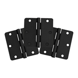 "6-Hole 3 1/2"" x 3 1/2"" 1/4 Radius Door Hinge 3-Pack, Matte Black #188888"