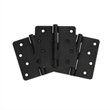 "8-Hole 4"" x 4"" 1/4 Radius Door Hinge 3-Pack, Matte Black #188946"