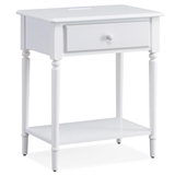 Coastal Nightstand/Side Table with AC/USB Charger #20022-WT