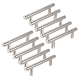 Hollow Bar Satin Nickel Cabinet Pull 4 Inch (104 mm) Hole Center, 10-Pack #207597