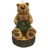 "9"" Wood Carved Angel Bear With Wreath #329961"