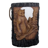 "10"" Solar Wood Carved Bear Lantern #330852"