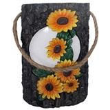 "10"" Solar Wood Carved Sunflower Lantern #330878"