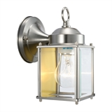 Coach 1-Light Indoor/Outdoor Clear Glass Wall Light, Satin Nickel #507863
