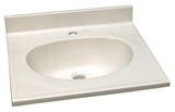 "Cultured Marble Single Faucet Hole Vanity Top 37""x22"", White on White #522169"