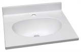 "Cultured Marble Single Faucet Hole Vanity Top 37"", Solid White #522201"