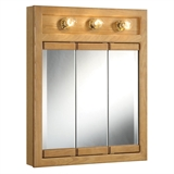 Richland 24 in. W x 30 in. H x 5 in. D Framed 3-Light Tri-View Surface-Mount Bathroom Medicine Cabinet in Nutmeg Oak #530592