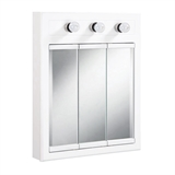 Concord 24 in. x 30 in. 3-Light Tri-View Surface-Mount Medicine Cabinet in White Gloss #532374