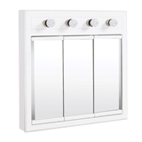 Concord 30 in. x 30 in. 4-Light Tri-View Surface-Mount Medicine Cabinet in White Gloss #532382