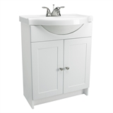 "Euro Fully Assembled 2-Door Vanity with Top, 25"", White, #541656"