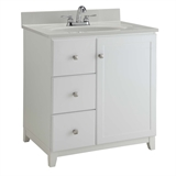 Shorewood 36 in. x 21 in. x 33 in. Unassembled 1-Door 2-Drawer Vanity Cabinet in White #547158