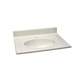 Cultured Marble Single Faucet Hole Vanity Top 25x22, White on White #554543