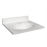 Cultured Marble Single Faucet Hole Vanity Top 25x22, Solid White #554600