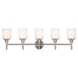 Aubrey 5-Light Vanity Light, Frosted Glass, Satin Nickel #556225