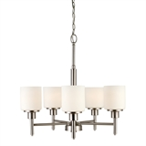 Aubrey 5-Light Chandelier, Frosted Glass, Satin Nickel #556639