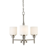 Aubrey 3-Light Chandelier with Frosted Glass, Satin Nickel #556647