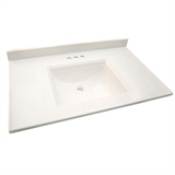 "Camilla Cultured Marble Vanity Top 37"", Solid White #557645"