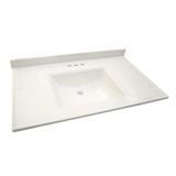 "Camilla Vanity Top with 4"" Backsplash, 49 x 22"", Solid White #557652"