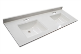 "Camilla Double Vanity Top 61"", Solid White #557678"