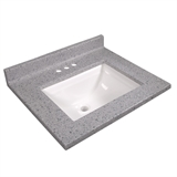 25-inch x 22-inch Cultured Marble Vanity Top in Moonscape Gray #563254-MSP