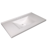 37-inch x 22-inch Contempo Cultured Marble Vanity Top in Solid White #563478-WHT