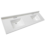 73-inch x 22-inch Camilla Cultured Marble Double Bowl Vanity Top in Solid White #563510-WHT