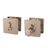 Emblem Square Single Cylinder Deadbolt, Satin Nickel #581835
