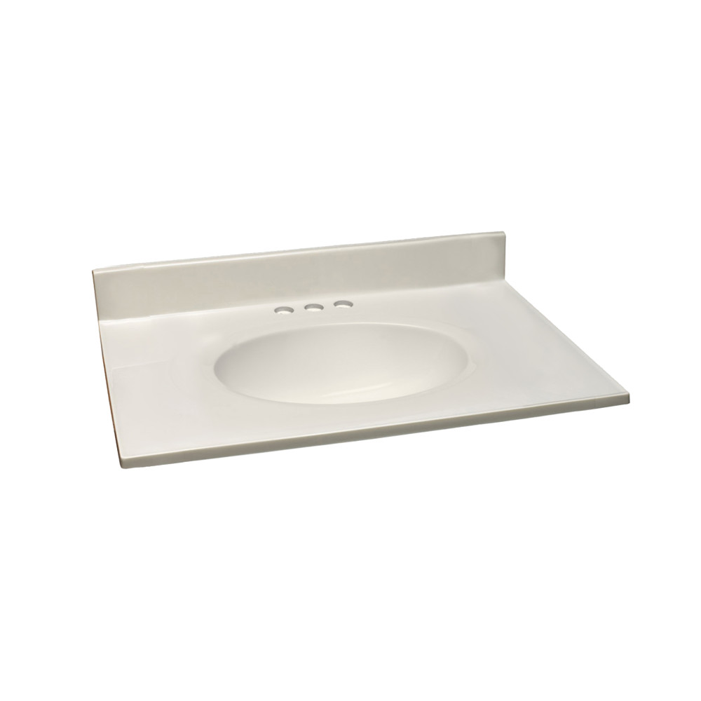 Cultured Marble Vanity Top 31x19, White On White #586289
