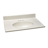 Cultured Marble Vanity Top 31x22, White on White #586321