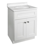 Brookings Ready to Assemble 24 in. W x 18 in. D 2-Door Shaker Style Bath Vanity Cabinet Only in White #586925