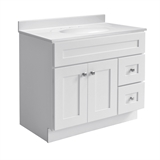 Brookings Ready to Assemble 36 in. W x 21 in. D 2-Door Shaker Style Bath Vanity Cabinet Only in White #586958