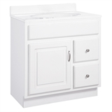Concord 30 in. x 21 in. x 30 in. 1-Door 2-Drawer White Vanity without Top #587014