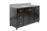 "Shorewood 2-Door 6-Drawer Vanity with Quartz 4"" Centerset Flint Vanity Top, Unassembled, 49x22, Espresso #591487"